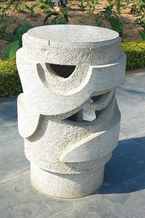 古典石灯柱石雕小品
