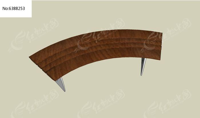 弧形木贴面坐凳模型图片