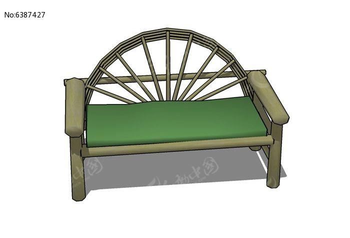 木质休闲座椅su模型skp素材下载