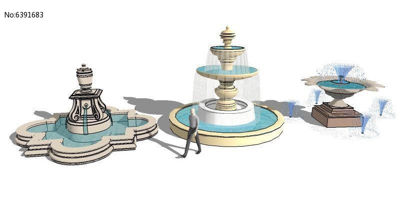 三款欧式水景喷泉skp素材下载_水景设计图片
