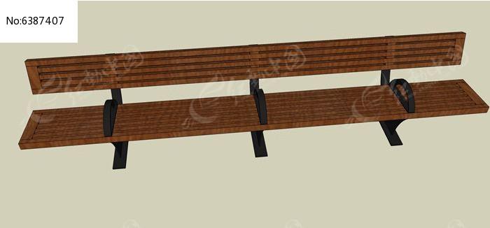 现代广场木贴面座椅模型图片