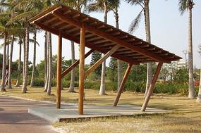 斜面休闲木质廊架