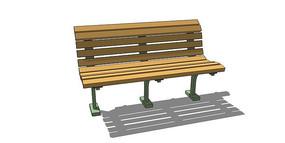 直线型木贴面座椅su模型 skp
