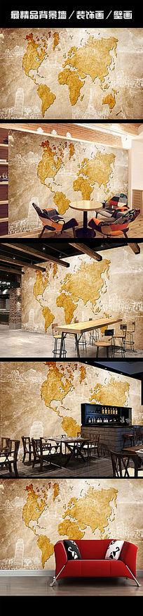 3D立体复古世界地图电视背景墙壁画