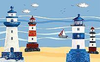 灯塔地中海风情电视背景墙壁画