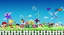 风车卡通六一儿童节背景视频