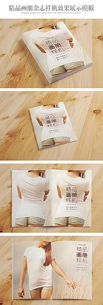 四款桌面上的画册杂志样机