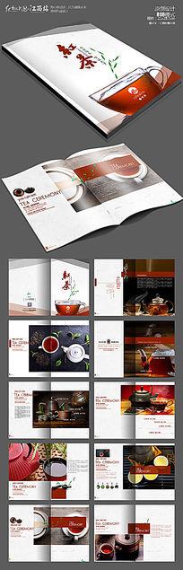 红茶茶叶画册版式设计模版