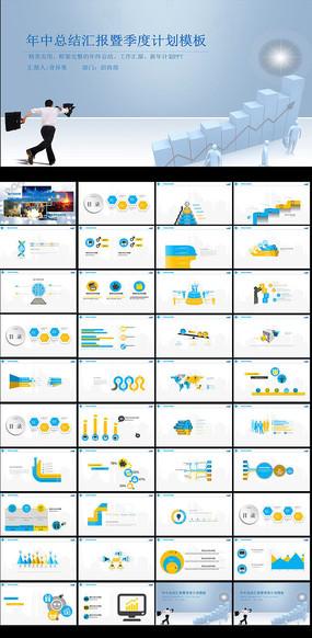 蓝色商务月度工作总结汇报PPT模板模板下载
