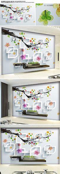 唯美手绘桃花3D电视背景墙