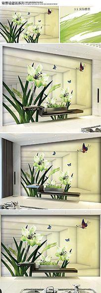 唯美水彩兰花3D电视背景墙