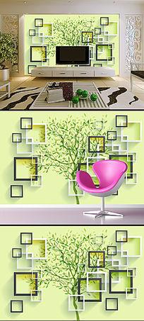 3D立体方框树电视背景墙壁纸
