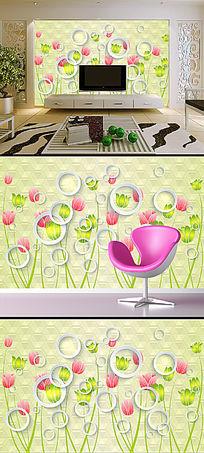 3D圆圈梦幻花朵花卉电视背景墙壁画
