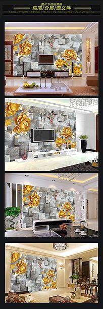 3d中式简欧风电视背景墙