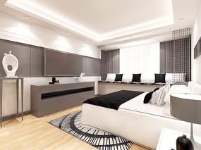 超简素净现代卧室设计模型