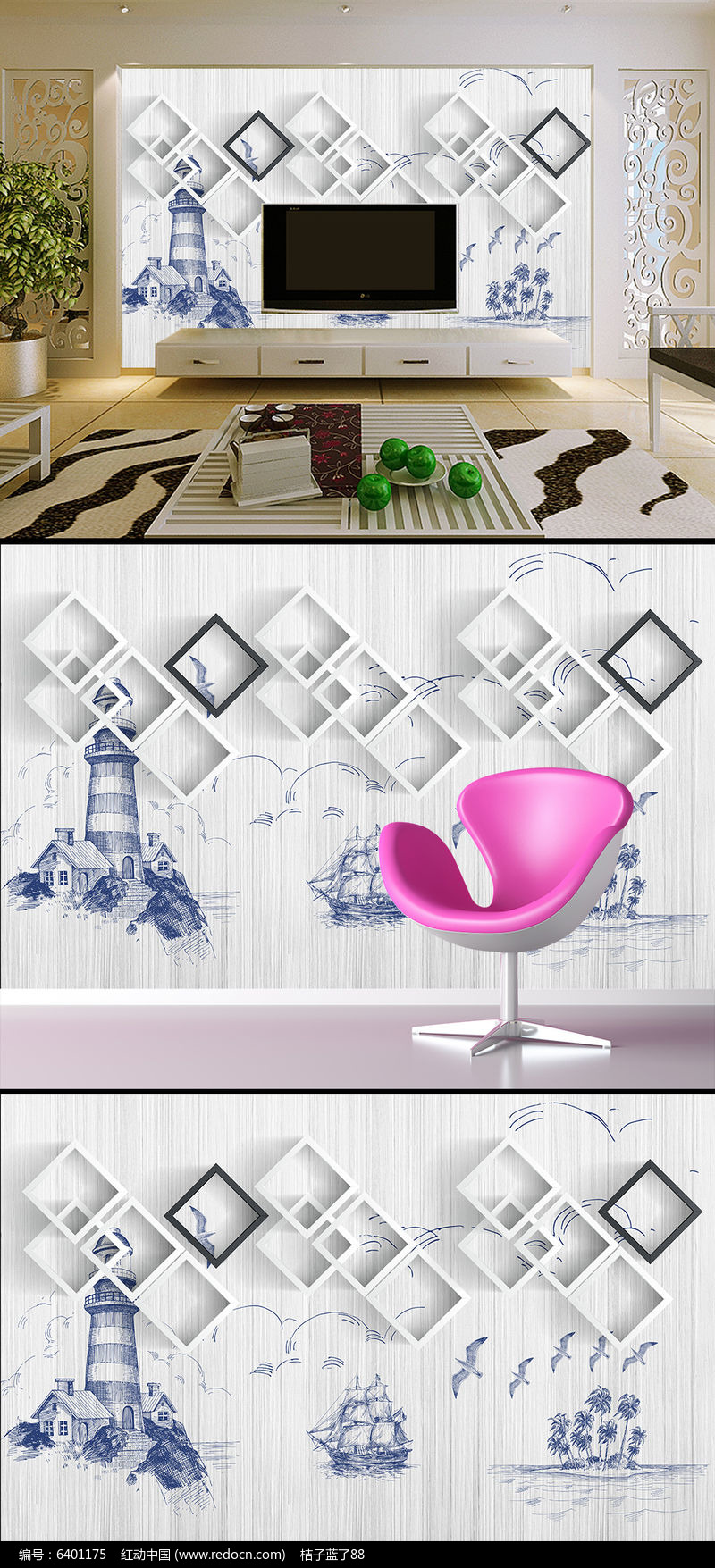 灯塔航海小船砖墙地中海欧式电视背景墙壁画图片