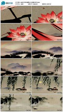古风荷花蜻蜓山水水墨背景视频