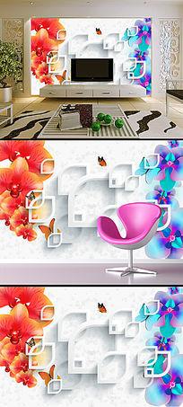 蝴蝶兰花卉3D电视背景墙