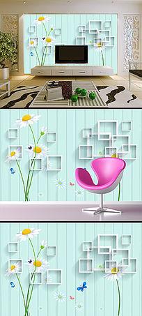 清新花朵3D方框电视背景墙模板