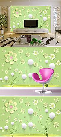 时尚花朵3D圆球电视背景墙