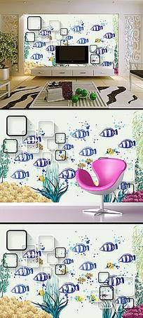 手绘简约欧式鱼方框电视背景墙壁画