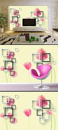 现代简约方框花卉花朵背景墙