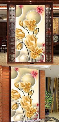 3D立体玉兰花彩雕玄关装饰画图片