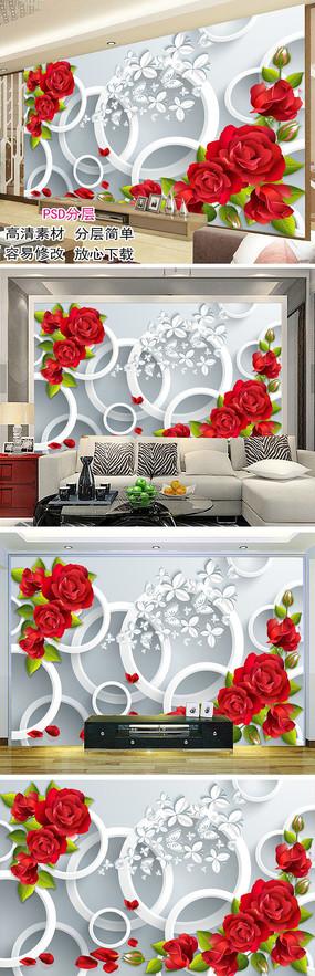 3D圆圈红玫瑰电视背景墙装饰画