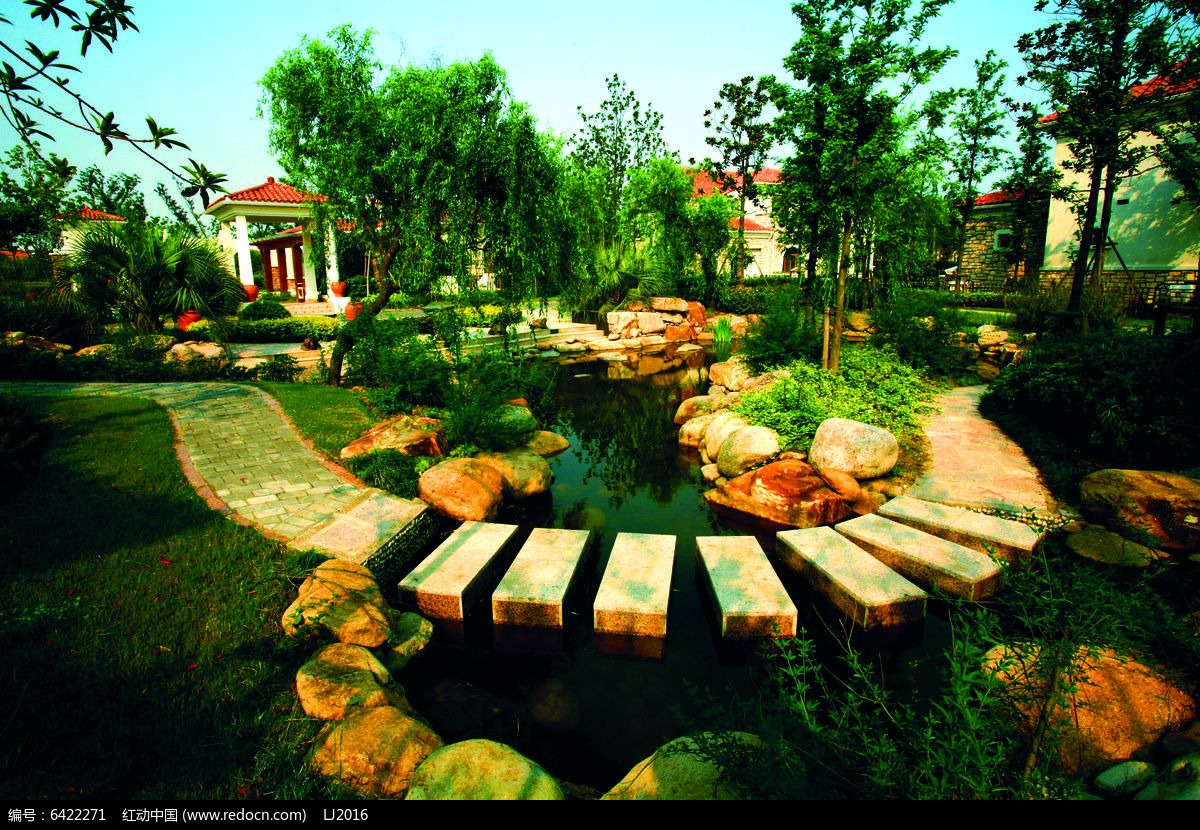 别墅景观水景汀步