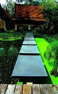 东南亚生态水景汀步景观