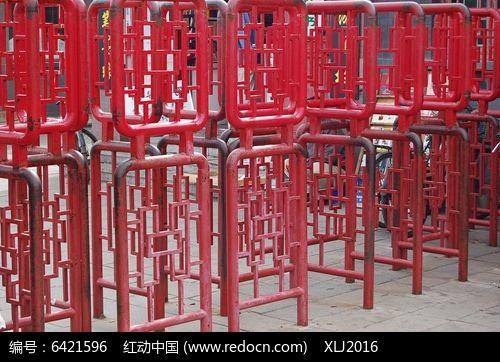 红色中式方框花纹护栏jpg素材下载