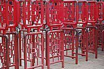 红色中式方框花纹护栏