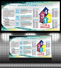 蓝色大气企业文化墙宣传栏