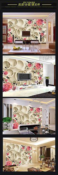 3d立体圆圈卧室背景墙
