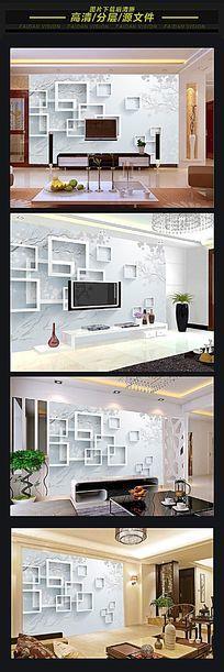 简约3D立体方框电视背景墙
