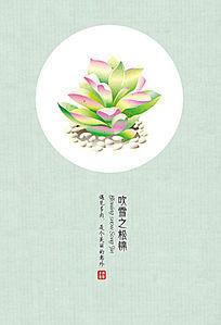 手绘多肉植物吹雪之松锦明信片 EPS