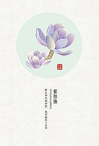 手绘多肉植物紫珍珠明信片 EPS