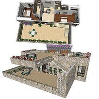 现代风复式家装草图大师SU模型skp模块