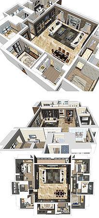 现代风格双拼室内家装草图大师SU模型skp模块