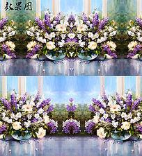 油画紫色花卉视频背景 FLA