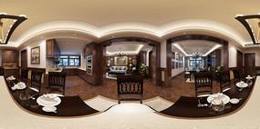 360°全景美式客餐厅会议室门厅厨房3d模型+高清鱼眼图
