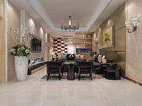 3D简约现代风格客厅模型与效果图