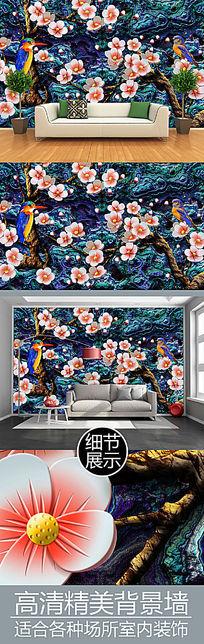 花鸟浮雕艺术背景墙