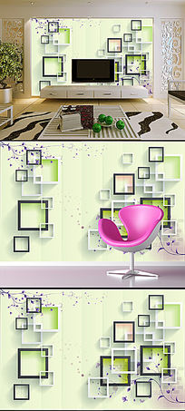 立体方框时尚优雅花朵电视背景墙壁画