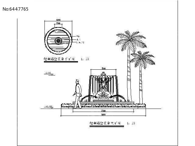 喷泉手绘图线稿