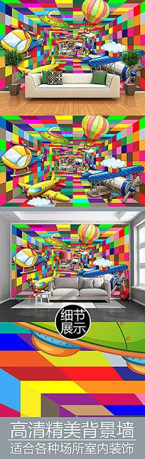 梦幻时光隧道儿童房背景墙
