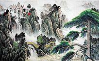 山水现代背景墙
