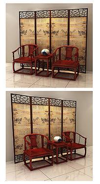 太师椅3D模型组合