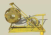 竹子水车雕塑小品