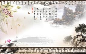 中式窗格古典中国风电视背景墙壁画素材PSD